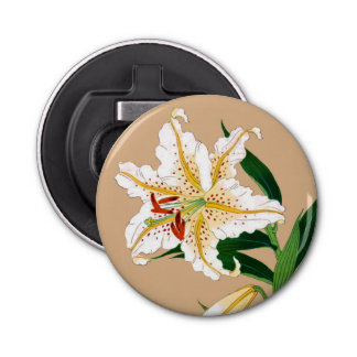 Vintage Japanese Lilly. White, Green and Beige Bottle Opener