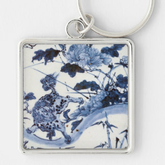 Vintage Japanese Lion and Peony Silver-Colored Square Keychain