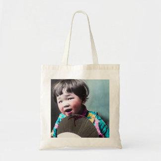 Vintage Japanese Little Girl and Paper Fan Japan Tote Bag
