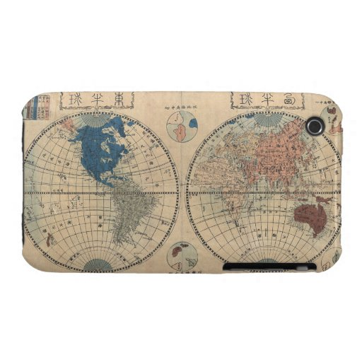 Vintage Japanese Map of World Blackberry Curve  Ca Case-Mate iPhone 3 Case