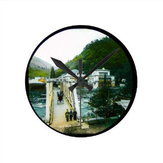 Vintage Japanese Morning Crossing Bridge Old Japan Round Clock