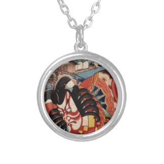 Vintage Japanese Painting - Kabuki Actor Silver Plated Necklace