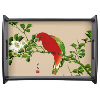 Vintage Japanese Painting of a Parrot, Red & Green Serving Tray