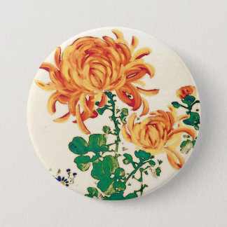 Vintage Japanese Painting of Chrysanthemums 3 Inch Round Button