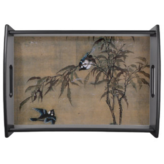 Vintage Japanese Painting Of Two Birds On Trees Serving Tray