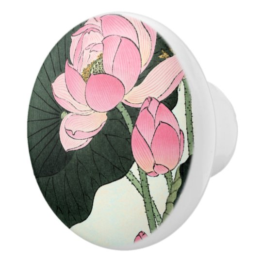 Vintage Japanese Pink Lotus Flower Ceramic Knob