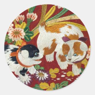 Vintage Japanese Puppy and Flower Round Sticker