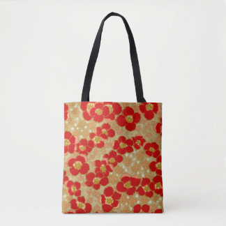 Vintage Japanese Red Gold Floral All Over Print Tote Bag