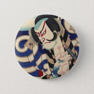 Vintage Japanese samurai Warrior fashion 2 Inch Round Button