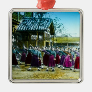 Vintage Japanese School Girls Exercising Japan Silver-Colored Square Ornament
