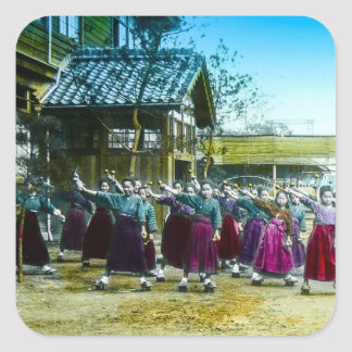Vintage Japanese School Girls Exercising Japan Square Sticker