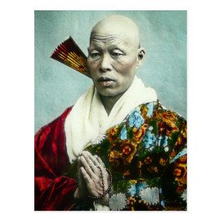 Vintage Japanese Shinto Priest Praying Old Japan Postcard