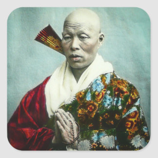 Vintage Japanese Shinto Priest Praying Old Japan Square Sticker