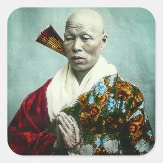 Vintage Japanese Shinto Priest Praying Old Japan Square Sticker