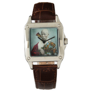 Vintage Japanese Shinto Priest Praying Old Japan Wristwatch