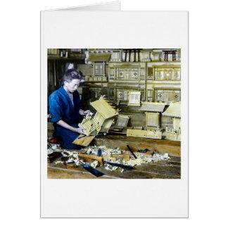 Vintage Japanese Shrine Maker Craftsman Old Japan Greeting Card
