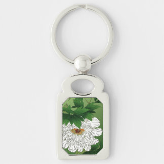 Vintage Japanese Sketch of Large White Peony Keychain