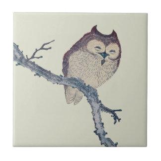 Vintage Japanese Sleeping Owl Tile
