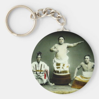 Vintage Japanese Sumo Wrestlers Old Japan Basic Round Button Keychain