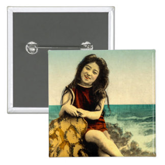 Vintage Japanese Swimsuit Bathing Beach Beauty 2 Inch Square Button