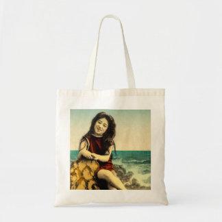 Vintage Japanese Swimsuit Bathing Beach Beauty Tote Bag
