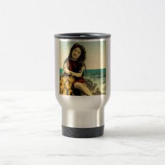 Vintage Japanese Swimsuit Bathing Beach Beauty Travel Mug