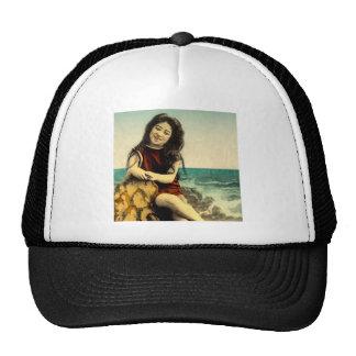 Vintage Japanese Swimsuit Bathing Beach Beauty Trucker Hat