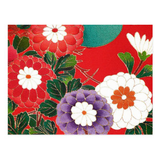 Vintage Japanese Textile - Red Dahlias Postcard