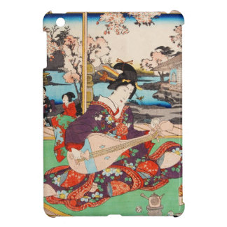 Vintage japanese ukiyo-e geisha playing Biwa art iPad Mini Covers