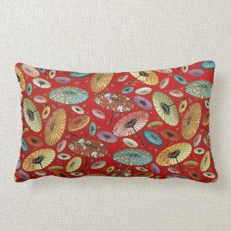 Vintage Japanese Umbrella Pattern Lumbar Pillow