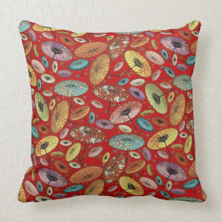 Vintage Japanese Umbrella Pattern Throw Pillow