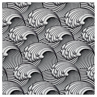 Vintage Japanese Waves, Black and White Fabric