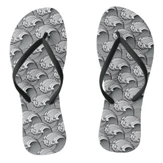 Vintage Japanese Waves, Black and White Flip Flops