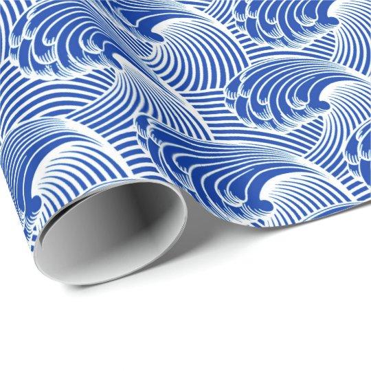 Vintage Japanese Waves, Cobalt Blue and White