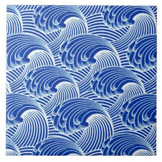Vintage Japanese Waves, Cobalt Blue and White Ceramic Tile