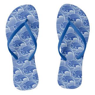 Vintage Japanese Waves, Cobalt Blue and White Flip Flops