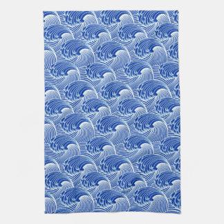 Vintage Japanese Waves, Cobalt Blue and White Kitchen Towel