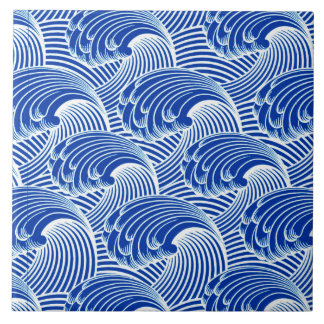 Vintage Japanese Waves, Cobalt Blue and White Tile