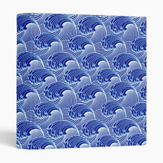 Vintage Japanese Waves, Cobalt Blue and White Vinyl Binders