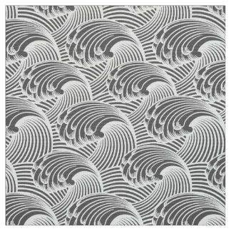 Vintage Japanese Waves, Gray / Grey and White Fabric