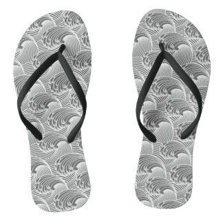 Vintage Japanese Waves, Gray / Grey and White Flip Flops