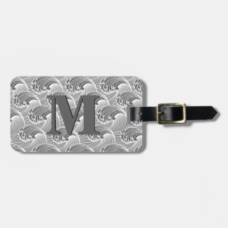 Vintage Japanese Waves, Gray / Grey and White Luggage Tag