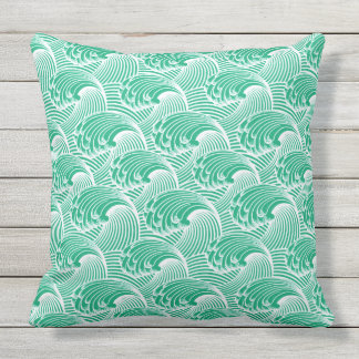 Vintage Japanese Waves, Jade Green and White Outdoor Pillow