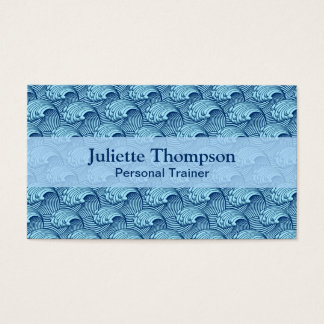 Vintage Japanese Waves, Navy and Sky Blue Business Card
