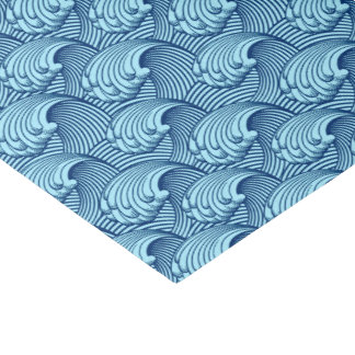 Vintage Japanese Waves, Navy and Sky Blue Tissue Paper