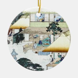 Vintage Japanese Winter Woodblock Art Ukiyo-e Ceramic Ornament