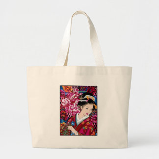 Vintage Japanese Woman in Kimono Large Tote Bag