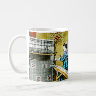 Vintage Japanese Woman Using a Silk Weave Mill Coffee Mug