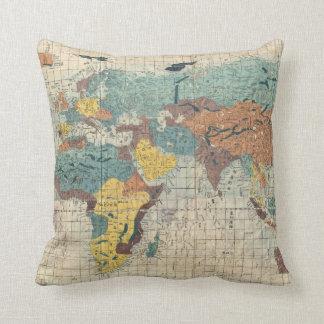 Vintage Japanese World Map Throw Pillow