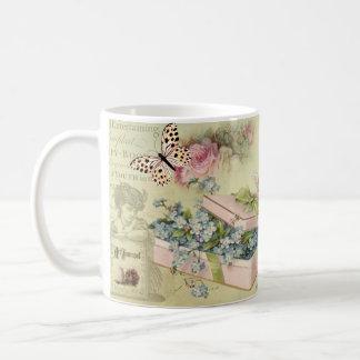 Vintage jar with flowers, butterflies, roses, bird coffee mug